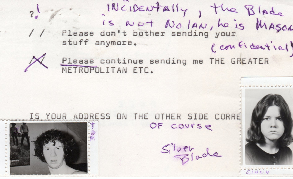 1969 Postcard from Silver Blade to Greg Hill, Back. Courtesy of the Discordian Archives.