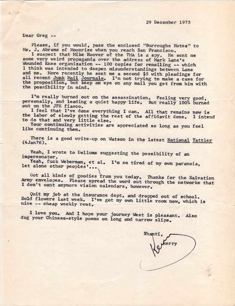 December 29, 1975 letter from Kerry Thornley to Greg Hill